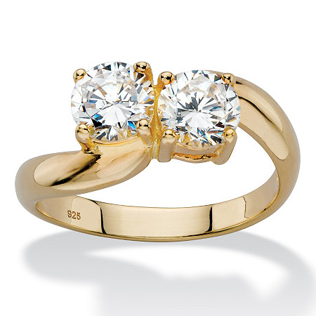 1.96 TCW Round White Cubic Zirconia Bypass Swirl Ring in 14k Yellow Gold over Sterling Silver at PalmBeach Jewelry