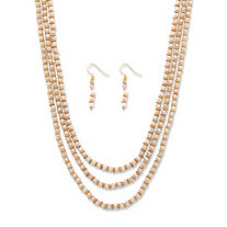 "Cream Beaded Triple-Strand Gold Tone 2-Piece Faceted Necklace and Drop Earrings Set 30""-33"""