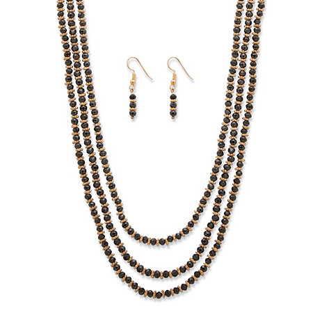 "Black Beaded Triple-Strand Gold Tone 2-Piece Faceted Necklace and Drop Earrings Set 30""-33"" at PalmBeach Jewelry"