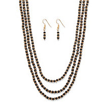"Black Beaded Triple-Strand Gold Tone 2-Piece Faceted Necklace and Drop Earrings Set 30""-33"""