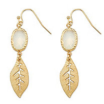 White Oval Bezel-Set Crystal Gold Tone Cutout Textured Leaf Drop Earrings (45mm)