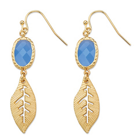 Blue Oval Bezel-Set Crystal Gold Tone Cutout Textured Leaf Drop Earrings (45mm) at PalmBeach Jewelry