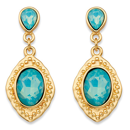 Oval-Cut Aquamarine Blue Glass Vintage-Inspired Faceted Drop Earrings in Gold Tone (44mm) at PalmBeach Jewelry