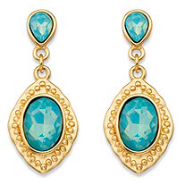 Oval-Cut Aquamarine Blue Glass Vintage-Inspired Faceted Drop Earrings in Gold Tone (44mm)