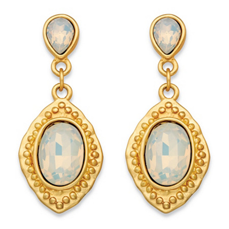 Oval-Cut Milky White Glass Vintage-Inspired Faceted Drop Earrings in Gold Tone (44mm) at PalmBeach Jewelry