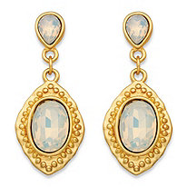 Oval-Cut Milky White Glass Vintage-Inspired Faceted Drop Earrings in Gold Tone (44mm)