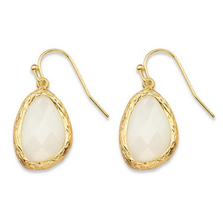 Pear-Cut Faceted White Crystal Gold Tone Textured Bezel-Set Drop Earrings (24mm) at PalmBeach Jewelry