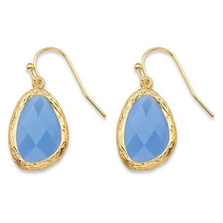 Pear-Cut Faceted Blue Crystal Gold Tone Textured Bezel-Set Drop Earrings (24mm) at PalmBeach Jewelry
