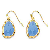 Pear-Cut Faceted Blue Crystal Gold Tone Textured Bezel-Set Drop Earrings (24mm)