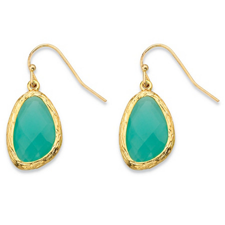Faceted Bezel-Set Pear-Cut Simulated Blue Aquamarine Gold Tone Textured Halo Drop Earrings (24mm) at PalmBeach Jewelry