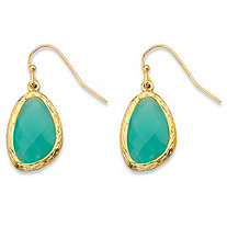 Faceted Bezel-Set Pear-Cut Simulated Blue Aquamarine Gold Tone Textured Halo Drop Earrings (24mm)