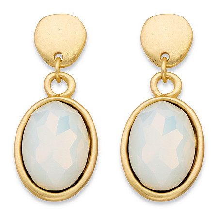 Oval-Cut Faceted Milky White Glass Bezel-Set Drop Earrings in Gold Tone 1.5