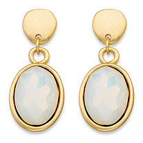 Oval-Cut Faceted Milky White Glass Bezel-Set Drop Earrings in Gold Tone 1.5""