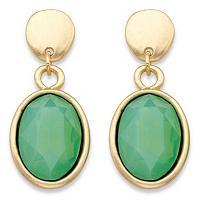 Oval-Cut Faceted Aquamarine Blue Green Glass Bezel-Set Drop Earrings ONLY $7.99