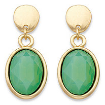Oval-Cut Faceted Aquamarine Blue Green Glass Bezel-Set Drop Earrings in Gold Tone 1.5""
