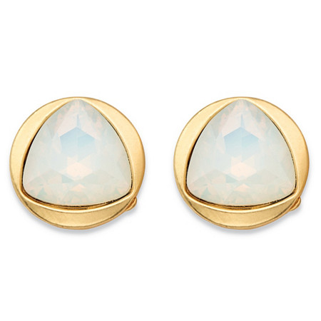 Triangle-Cut Faceted Milky White Glass Bezel-Set Stud Earrings in Gold Tone (14mm) at PalmBeach Jewelry