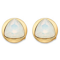 Triangle-Cut Faceted Milky White Glass Bezel-Set Stud Earrings in Gold Tone (14mm)
