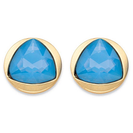 Triangle-Cut Faceted Blue Glass Gold Tone Bezel-Set Stud Earrings (14mm) at PalmBeach Jewelry