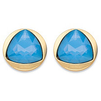 Triangle-Cut Faceted Blue Crystal Gold Tone Bezel-Set Stud Earrings (14mm)