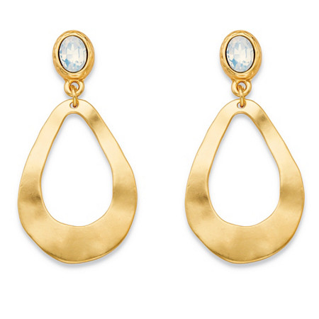 Oval-Cut Milky White Gold Tone Openwork Teardrop Loop Drop Earrings (50mm) at PalmBeach Jewelry