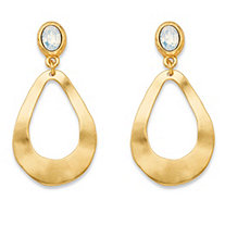 Oval White Crystal Gold Tone Openwork Teardrop Loop Drop Earrings (50mm)