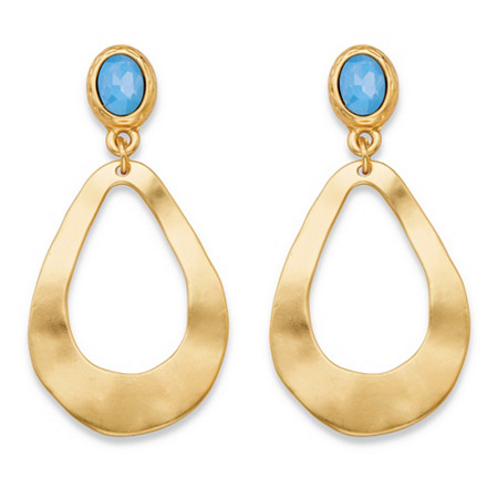 Oval Blue Crystal Gold Tone Openwork Teardrop Hammered Loop Drop Earrings (50mm) at PalmBeach Jewelry