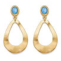 Oval Blue Crystal Gold Tone Openwork Teardrop Hammered Loop Drop Earrings (50mm)