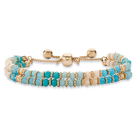 Blue and White Crystal Gold Tone Beaded Double Strand Drawstring Bracelet 9