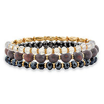 Round and Barrel Black and White Crystal Gold Tone 3-Piece Beaded Stretch Bracelet Set 8""