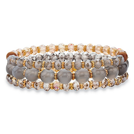 Round and Barrel Grey and Brown Crystal Gold Tone 3-Piece Beaded Stretch Bracelet Set 8