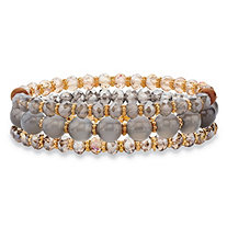 Round and Barrel Grey and Brown Crystal Gold Tone 3-Piece Beaded Stretch Bracelet Set 8""