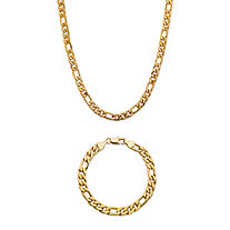 "Men's Figaro-Link 2-Piece Chain Necklace and Bracelet Set Gold Ion-Plated 22"" 8"" (6.5mm)"
