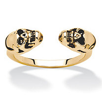 Twin Skulls Open Ring in Gold Tone