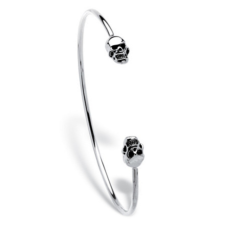 Polished Twin Skulls Cuff Bangle Bracelet Platinum-Plated 7.5