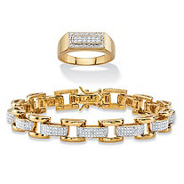 SETA JEWELRY Men's Diamond Accent Pave-Style 14k Gold Rectangle Halo Grid Ring and 18k Gold Link Bar-Link Bracelet 2-Piece Set 8.5