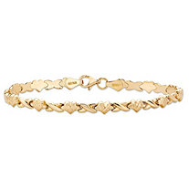 "Diamond-Cut Hearts and Kisses ""X & O"" Bracelet with Lobster Clasp in 14k Yellow Gold 7"""