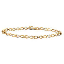 "Polished Infinity-Link Bracelet in 10k Yellow Gold 7"" (2mm)"