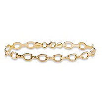 "Diamond-Cut Horsebit-Link Chain Bracelet in 14k Yellow Gold 7"" (3mm)"