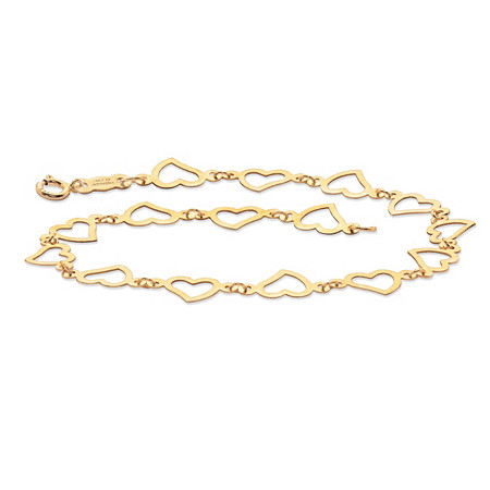 Cutout Heart-Link Bracelet with Spring Ring Clasp in 14k Yellow Gold 7.5