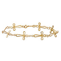 Diamond-Cut Openwork Cross-Link Bracelet with Spring Ring Clasp 14k Yellow Gold 7.5""