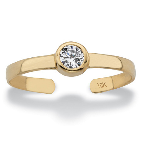 Round White Bezel-Set Cubic Zirconia Accent Adjustable Toe Ring in Solid 10k Yellow Gold (4mm) at PalmBeach Jewelry