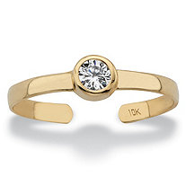 Round White Bezel-Set Cubic Zirconia Accent Adjustable Toe Ring in Solid 10k Yellow Gold (4mm)