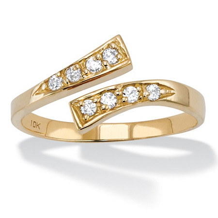 .26 TCW Round Cubic Zirconia Adjustable Toe Ring in Solid 10k Gold (4mm) at PalmBeach Jewelry