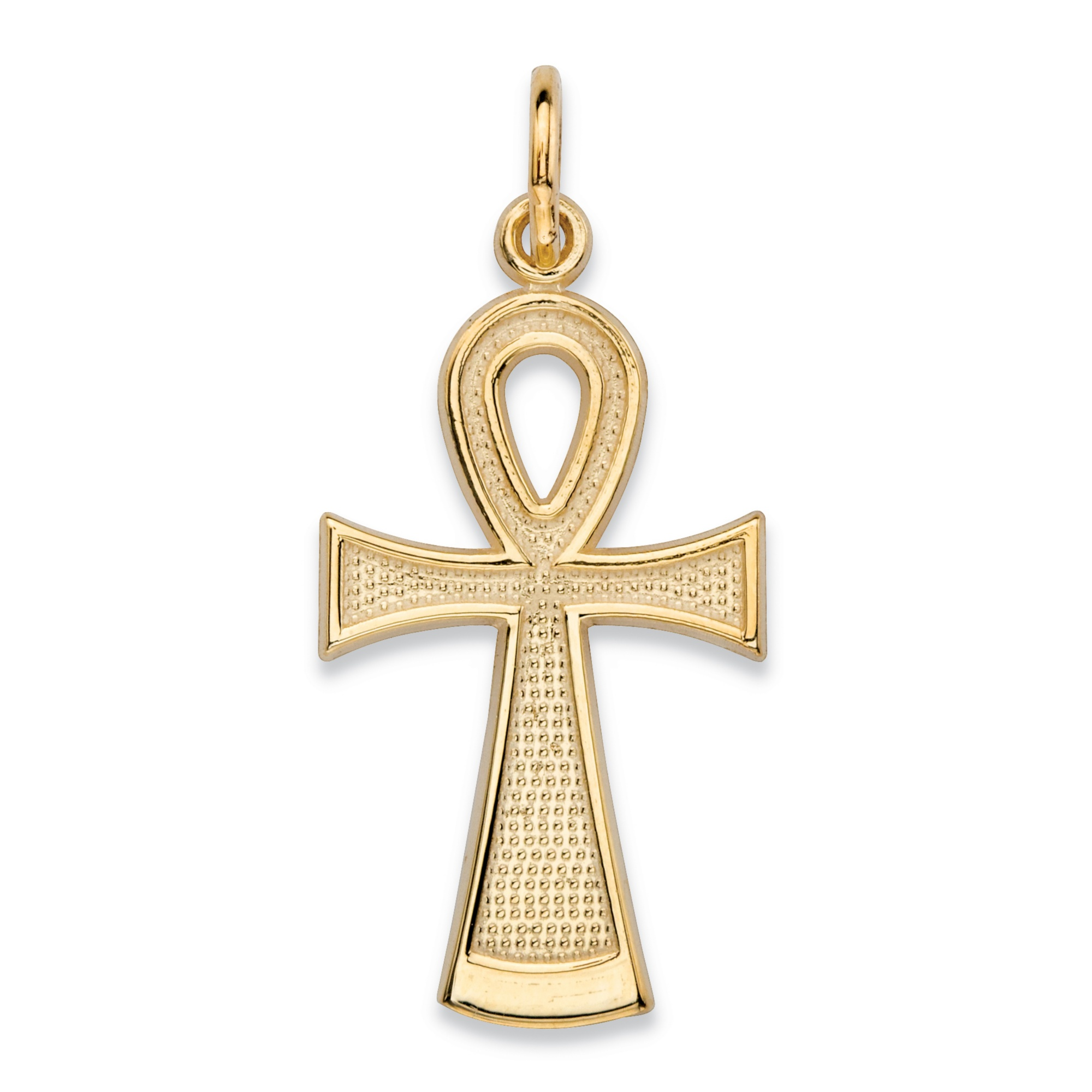 Textured Egyptian Ankh Cross Charm Pendant In 10k Yellow