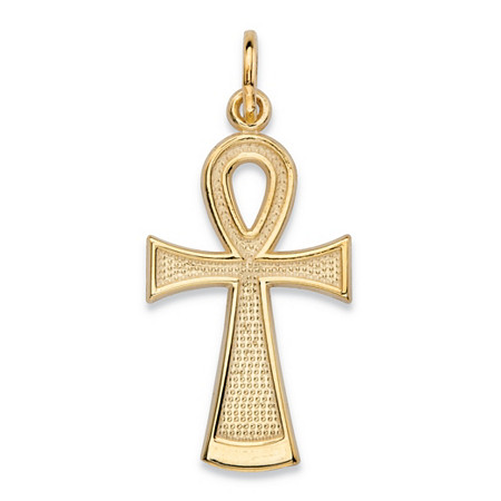 Textured Egyptian Ankh Cross Charm Pendant in 10k Yellow Gold (1
