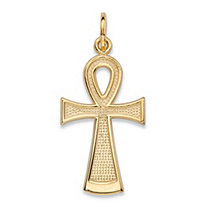 "Textured Egyptian Ankh Cross Charm Pendant in 10k Yellow Gold (1"")"