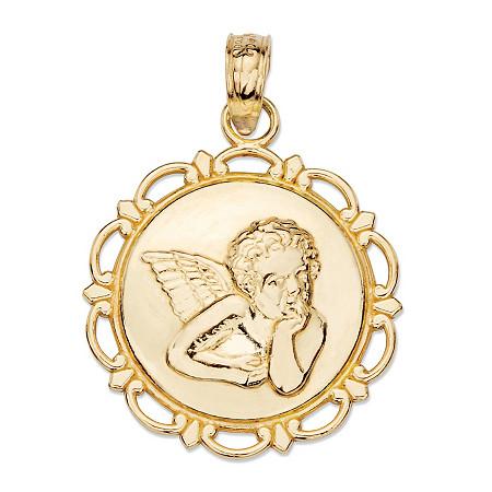 Cherub Angel Scalloped Edge Embossed Charm Pendant in 14k Yellow Gold (1/3