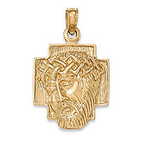 "Jesus Crown of Thorns Embossed Charm Pendant in 14k Yellow Gold (1/3"")"