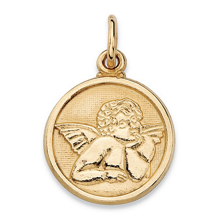 Round Cherub Angel Embossed Charm Pendant in 14k Yellow Gold (3/4