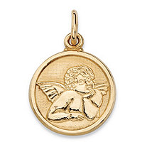 "Round Cherub Angel Embossed Charm Pendant in 14k Yellow Gold (3/4"")"